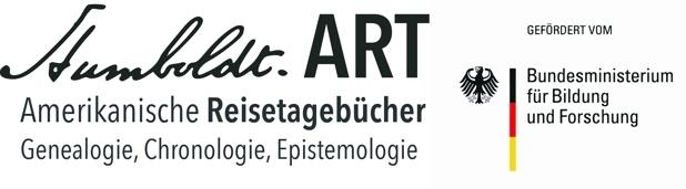 """Logo Alexander von Humboldt-Forschungsprojekt """"Amerikanische Reisetagebücher: Genealogie, Chronologie, Epistemologie"""" (gefördert vom BMBF)"""