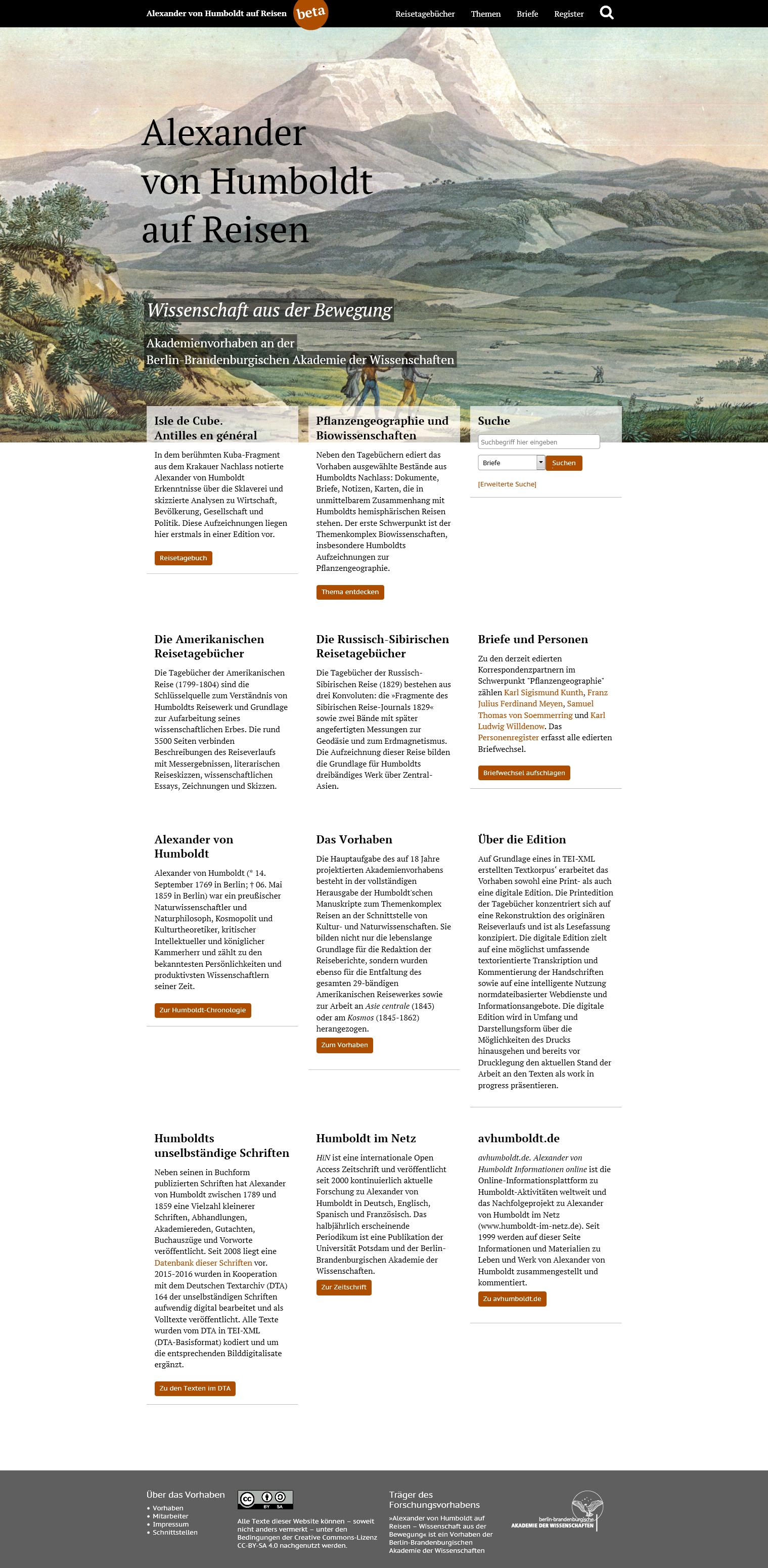 """Online-Edition (Beta) des Akademienvorhabens """"Alexander von Humboldt auf Reisen - Wissenschaft aus der Bewegung"""""""