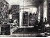 Litografie nach Aquarell von Eduard Hildebrandt (1818-1869), Alexander von Humboldt in seiner Bibliothek, 1845.